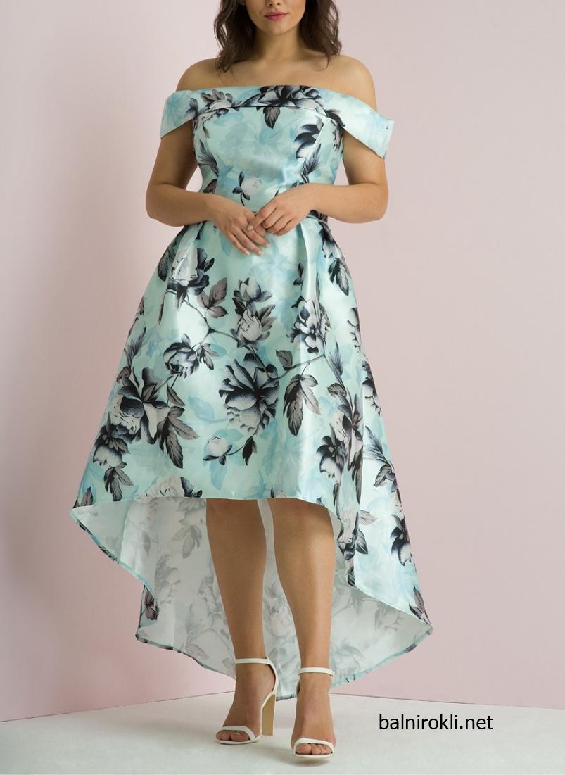 Асиметрична Ментова официална рокля за Макси дами размери 3XL,4XL,5XL,6XL,7XL