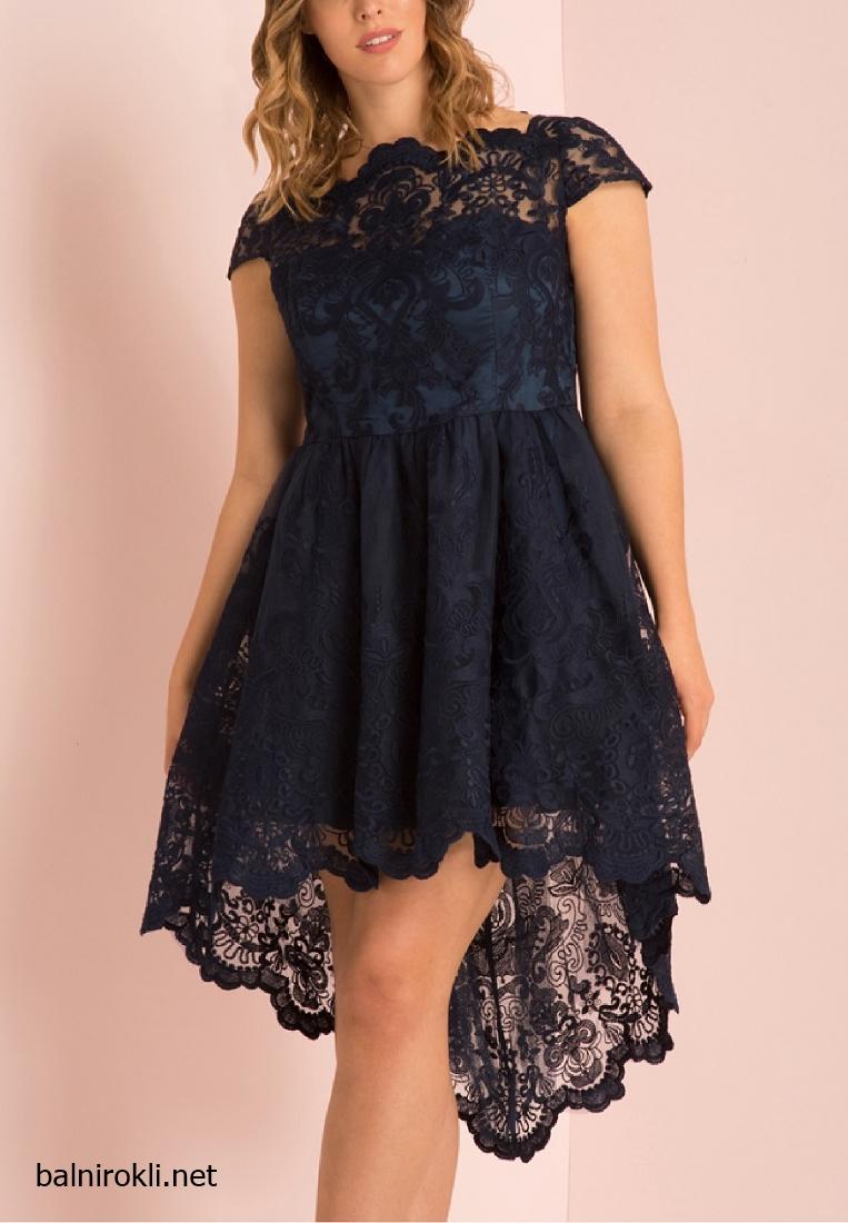 Асиметрична Тъмносиня официална рокля за Макси дами размери 3XL,4XL,5XL,6XL,7XL