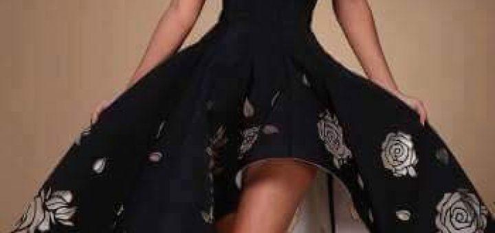 Асиметрична Коктейлна рокля флорален принт