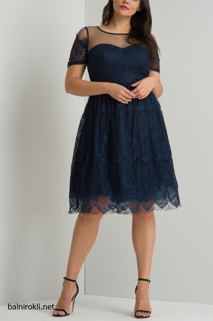 Тъмносиня Дантелена официална рокля за Макси дами размери 3XL,4XL,5XL,6XL,7XL