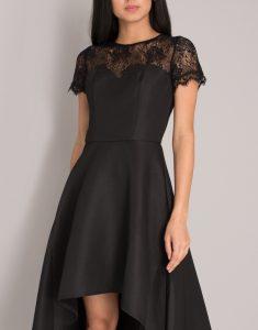 асиметрична елегантна рокля сатен и черна дантела