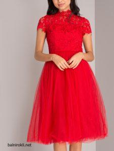 червена рокля тюл и дантела