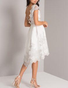 бяла асиметрична рокля бродерии дантела,гол гръб