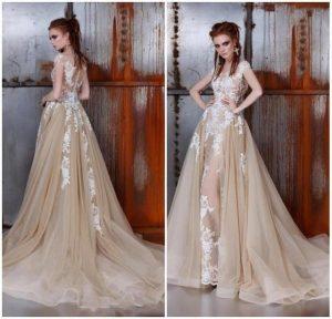 елегантна бална рокля в неутрален цвят норка