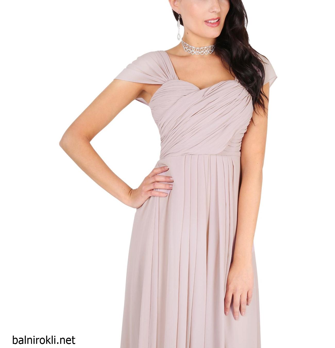 дълга официална рокля цвят норка