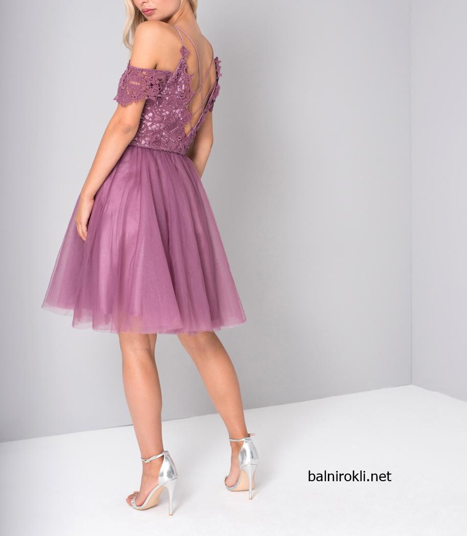 лилава официална рокля тюл и дантела