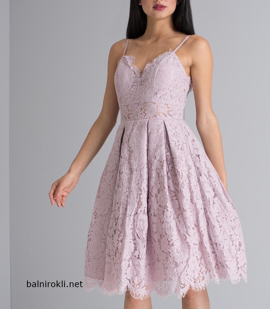 официална дантелена къса рокля в цвят сиволилава норкаофициална дантелена къса рокля в цвят сиволилава норка