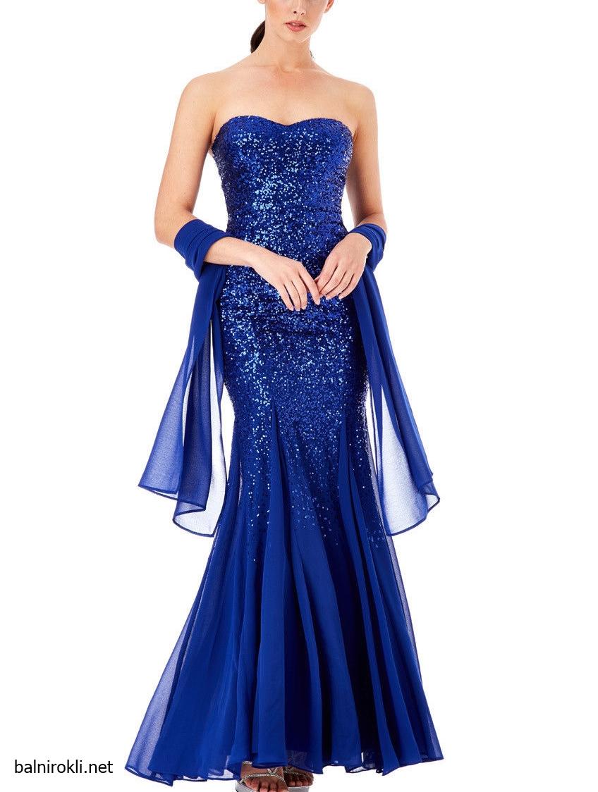 Синя Блестяща дълга рокля