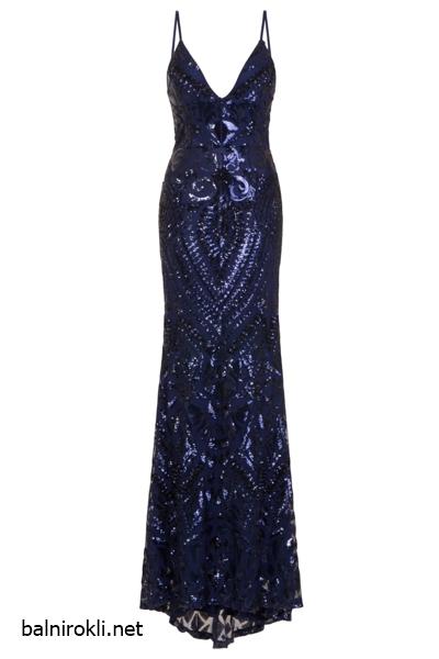 Блестяща луксозна тъмносиня рокля гол гръб