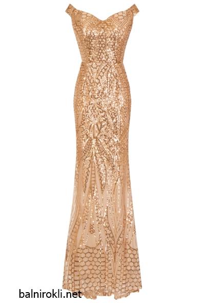 Блестяща дълга златна рокля