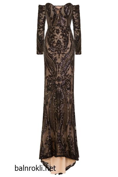 Блестяща дълга черна рокля