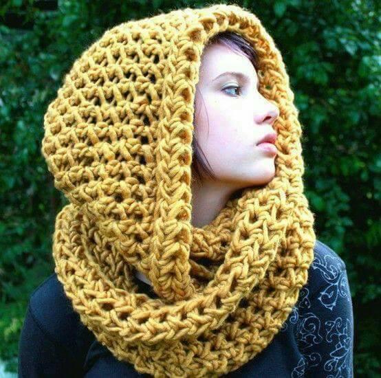 плетен шал -шапка