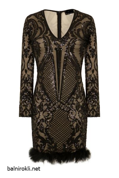 Блестяща къса черна рокля