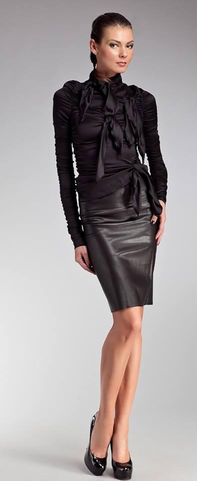 черна кожена пола
