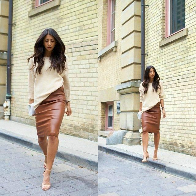 кафява кожена пола