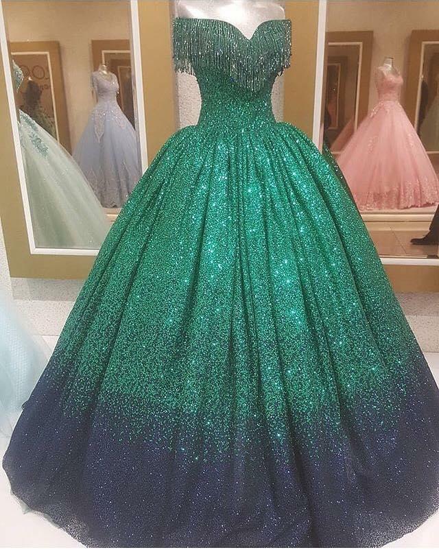 Дълга Зелена Бална Рокля Принцеса