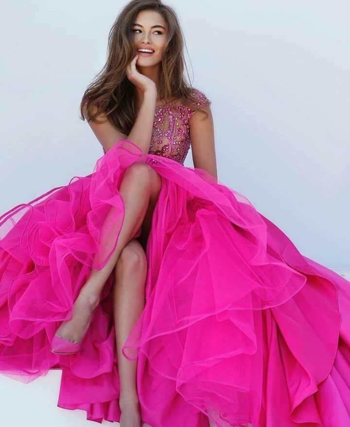 Дълга Бална Рокля Цикламено Розово