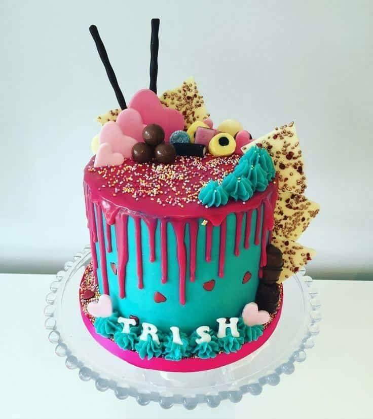 празнична торта розово син цвят