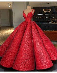 Дълга рокля за бал Червена