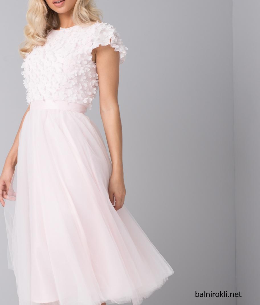 Бална розова рокля тюл Средна Дължина
