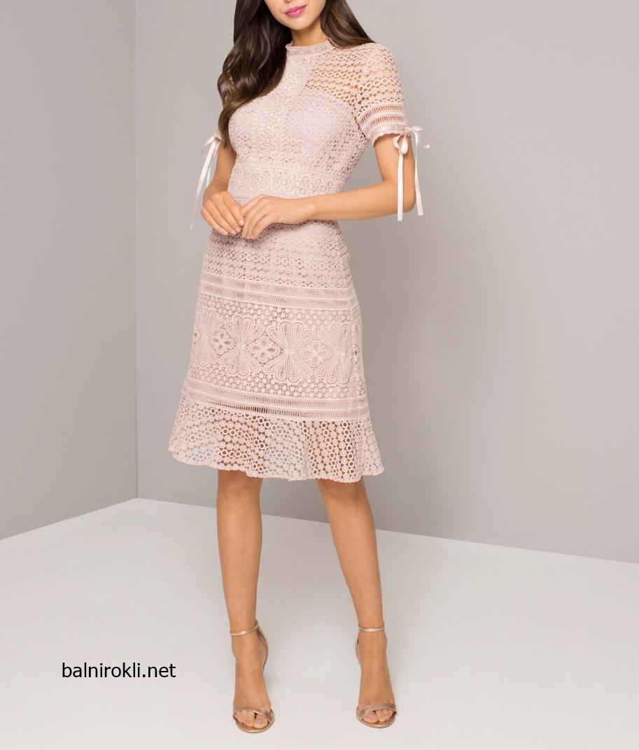 Дантелена Къса Розова официалн рокля