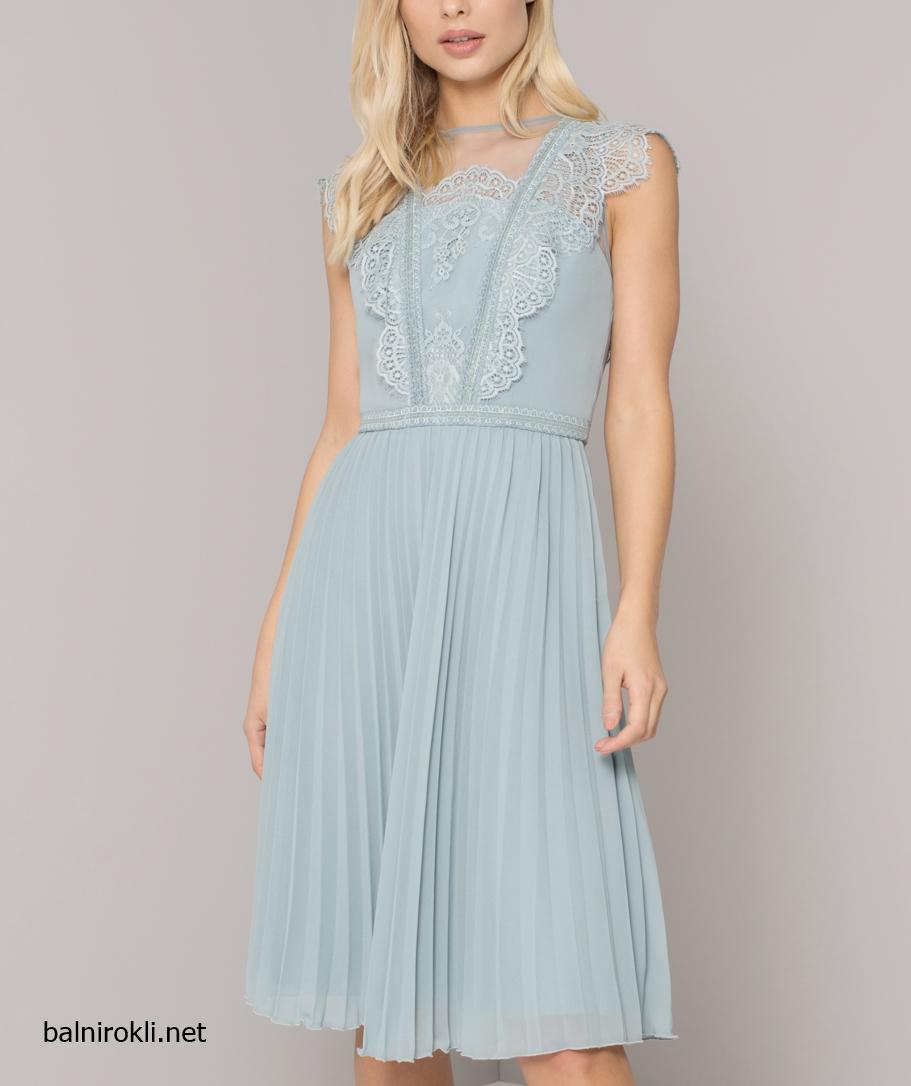 Абитуриентска светлосиня бална рокля дантела шифон