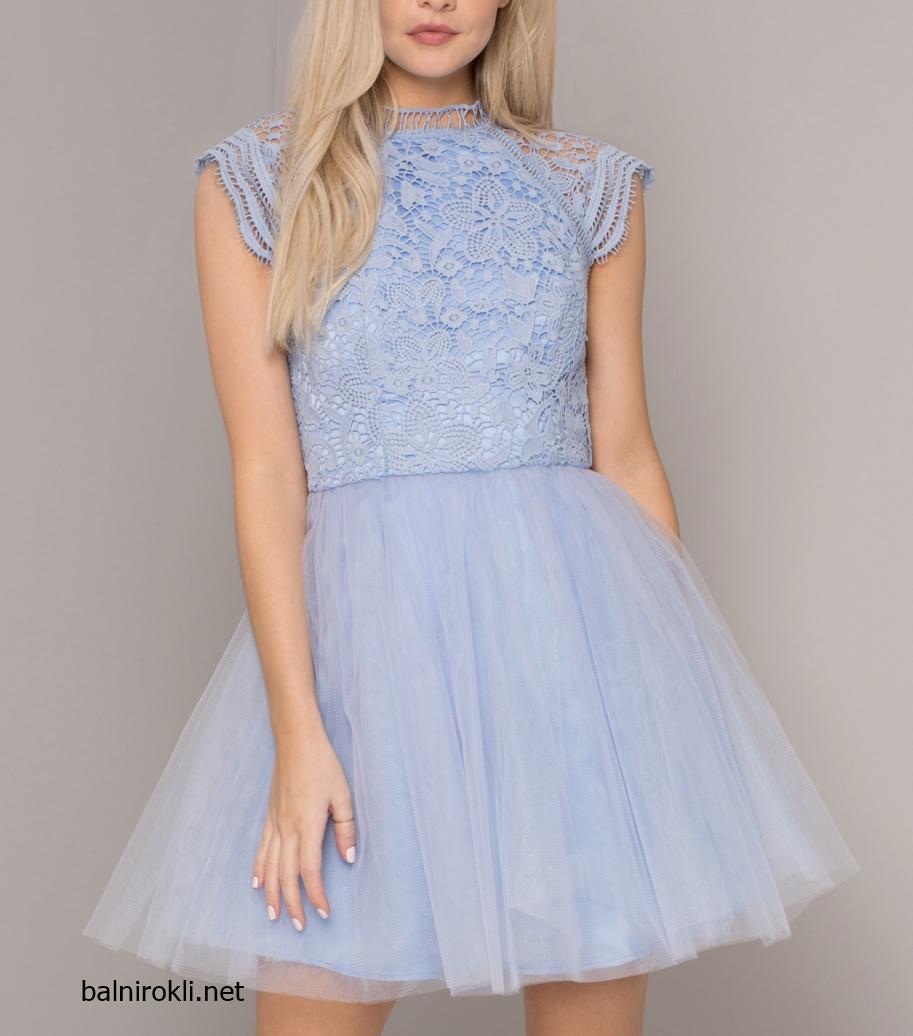 Абитуриентска Къса Бална Светлосиня рокля тюл