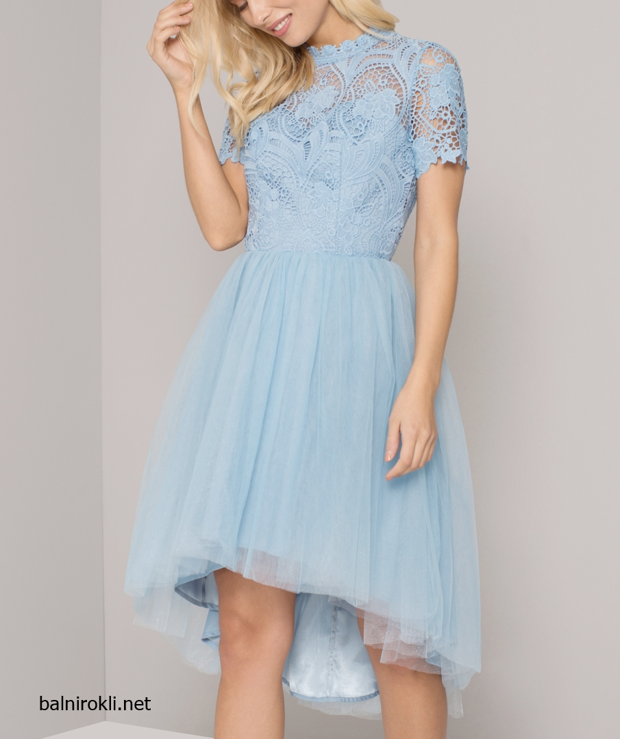 Абитуриентска Асиметричн Бална рокля тюл Дантела Светлосин цвят