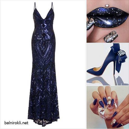 Вечерна Тъмносиня Рокля и визия в син цвят