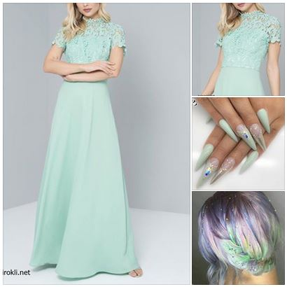 дълга елегантна зелена рокля,официална визия в пастелно зелен цвя