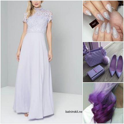 дълга официална рокля пастелно лилава елегантна визия в пастелно лилав цвят