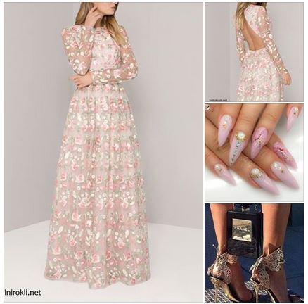 дълга официална рокля гол гръб ,флорални бродерии елегантна визия в пастелно розов цвят