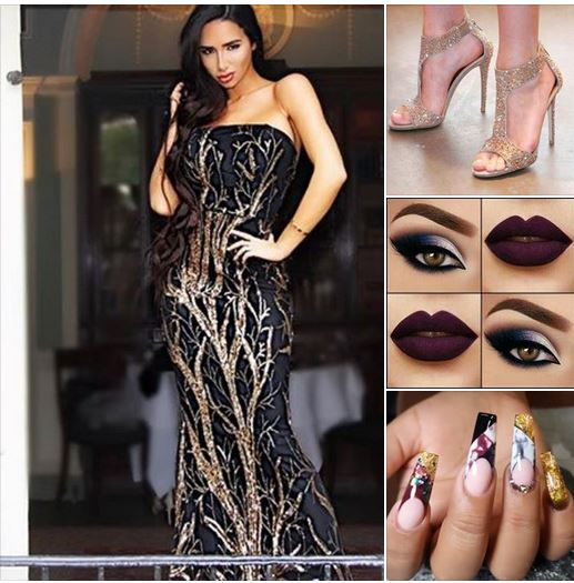 дълга черна блестяща рокля със златисти декорации