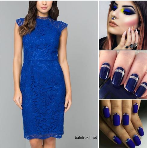 официална синя визия ,синя дантелена права официална рокля
