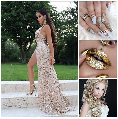 официална бална рокля златисто шампанско -визия в златисто