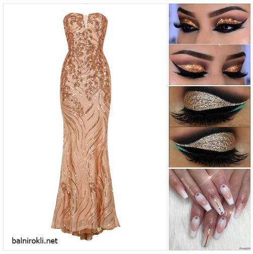 златна рокля - визия в златисто