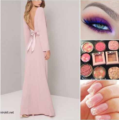 дълга розова официална рокля, елегантна визия в пастелно розов цвят