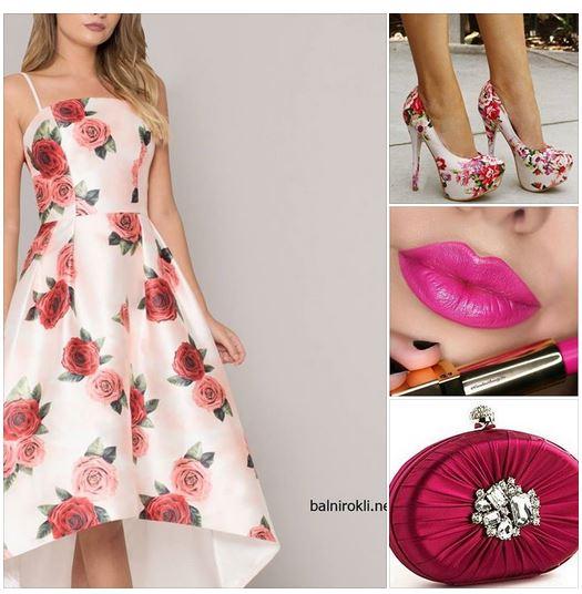официална рокля с флорален принт