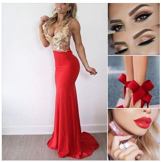 червена дълга официална рокля русалка,червена визия