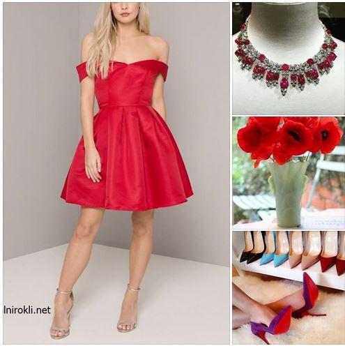 елегантна къса червена рокля ,елегантна червена визия