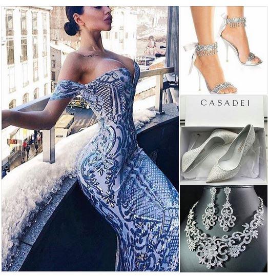 сребриста дълга официална блестяща рокля,визия в сребристо