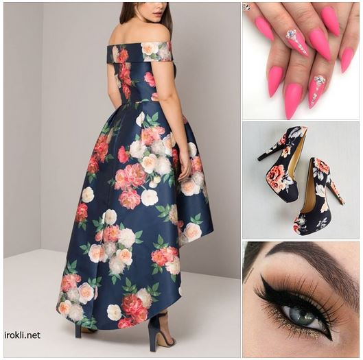 официална рокля с флорален принт макси размери