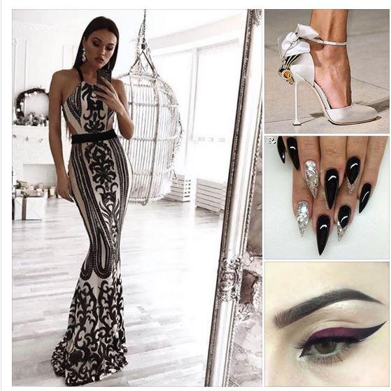 луксозна дълга официална рокля с черни декорации