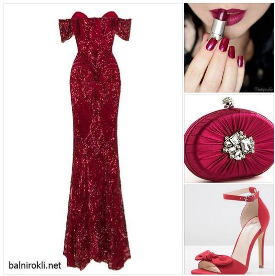Тъмночервена блестяща рокля - елегантна луксозна визия в червено