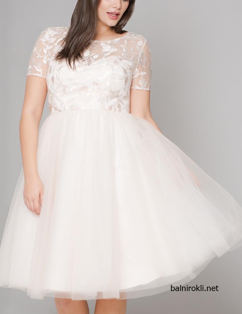 Къса вечерна рокля макси размери тюл и бродерия