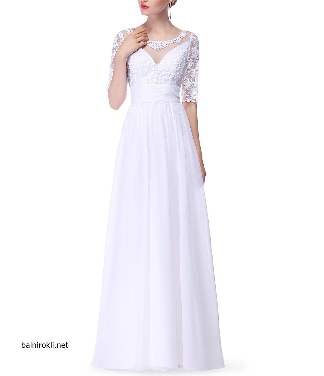 Бяла дълга вечерна рокля шифон дантела