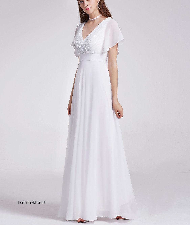 Бяла дълга вечерна рокля шифон