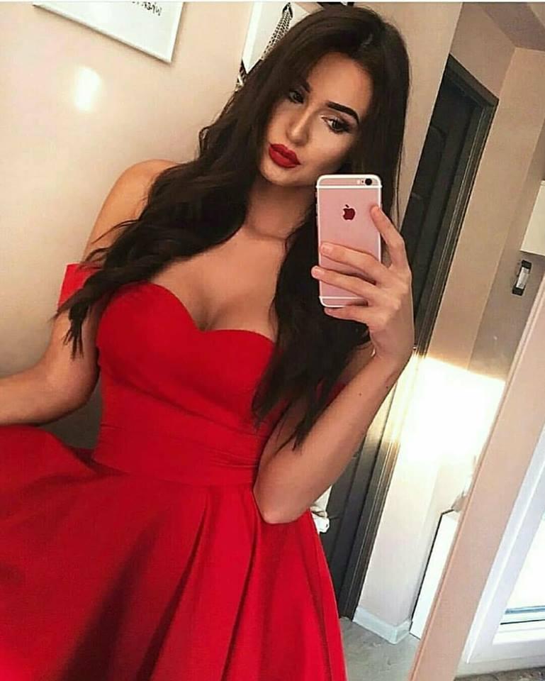 къса червена елегантна официална рокля