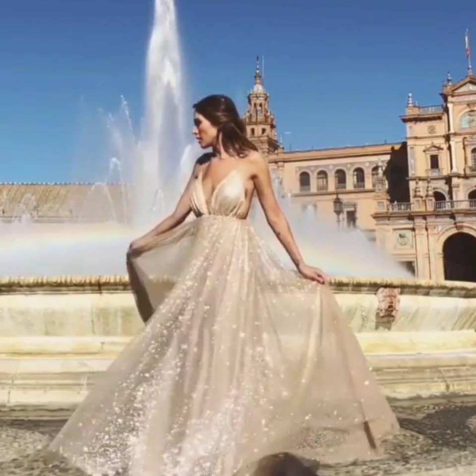 лятна вечерна рокля цвят шампанско