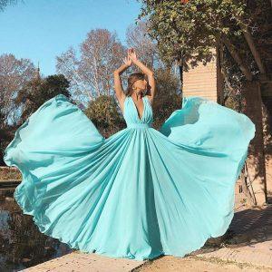 синя лятна вечерна рокля